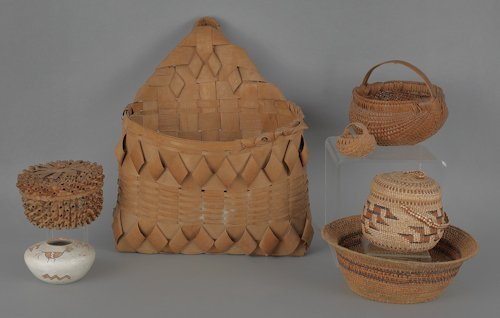 1: Six miscellaneous baskets, 19th c., to include In