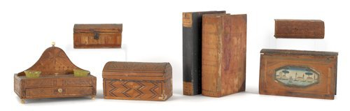 2: Four marquetry inlaid boxes, 19th c., together wi