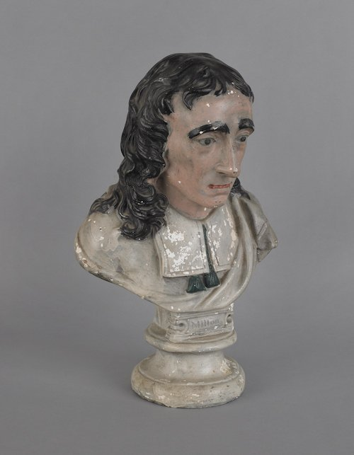 5: Large chalk bust of Milton, 19th c., 18'' h.
