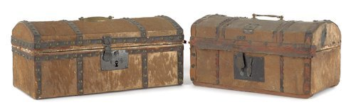 6: Two hide covered dome top boxes, early 19th c., l