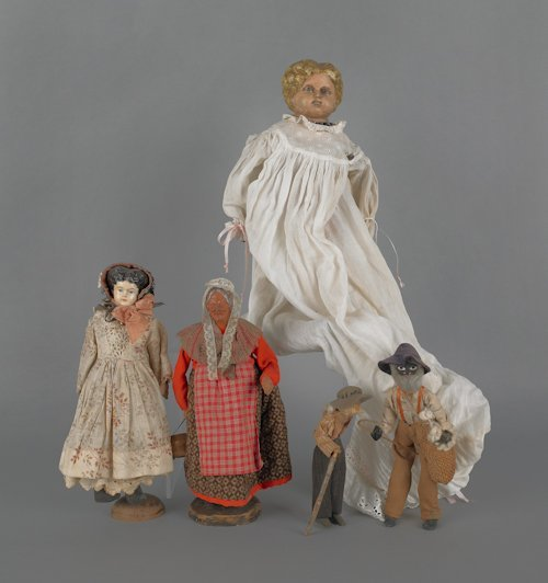 11: Two composition molded hair dolls, early 19th c.,