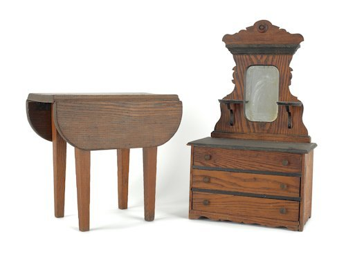 12: Oak doll's dresser, early 20th c., together with