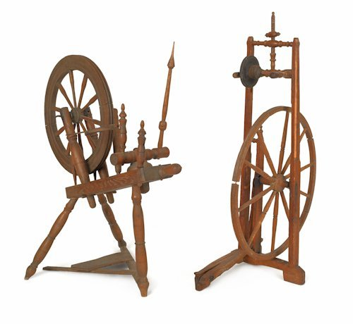 723: Two spinning wheels, 19th c., together with a woo