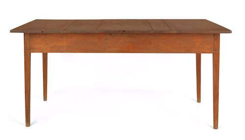 724: Walnut farm table, early 19th c., resting on tape