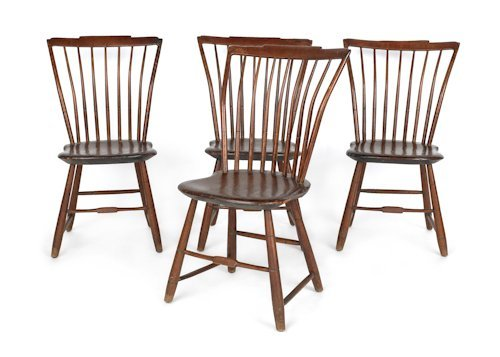 727: Set of four Pennsylvania step down Windsor chairs