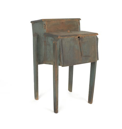 728: Primitive painted pine churn, 19th c., with an ol