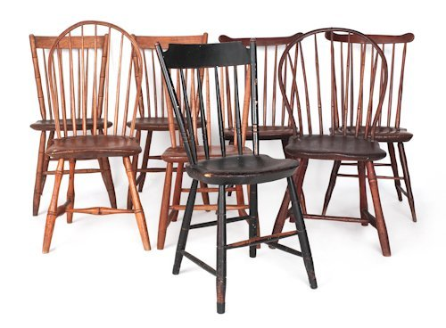 729: Seven miscellaneous Windsor chairs, early 19th c.
