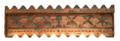 737: Scandinavian carved and painted hanging meat rack