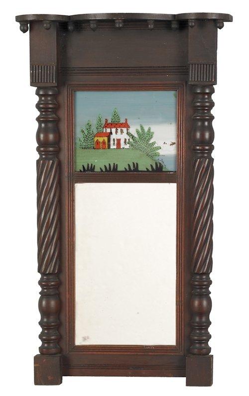 741: Sheraton mahogany mirror, early 19th c., with a p
