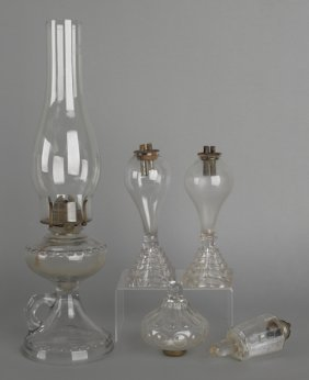 Three Clear Glass Oil Lamps, 19th C., Together Wi