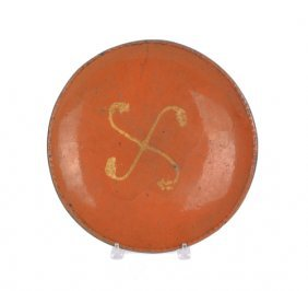 Pennsylvania Redware Shallow Bowl, 19th C., With