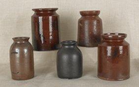 Five Redware Jars, 19th C., Tallest - 8''.