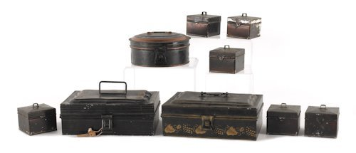 793: Three tin spice boxes, 19th c., together with six