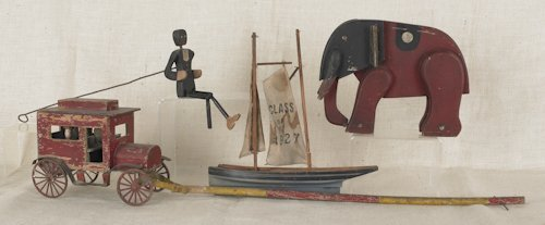 794: Wooden car pull toy, 20th c., together with a woo