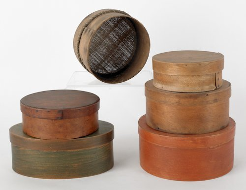 795: Five wooden pantry boxes, 19th c. and 20th c., to