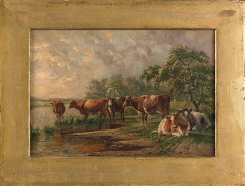 799: Oil on canvas of a bucolic landscape with a cow,