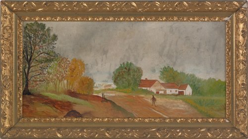 800: Oil on board landscape with a house, ca. 1900, 11