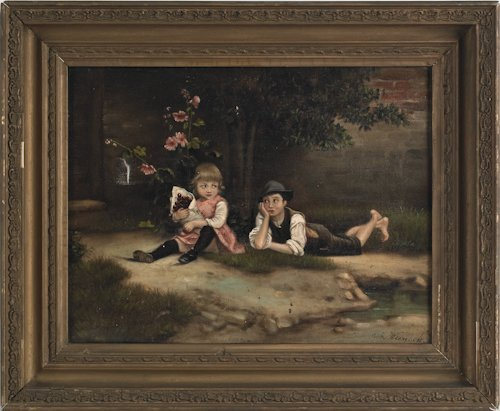 802: Oil on canvas of two children, 19th c., signed lo