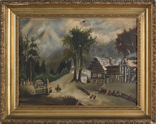 803: Two oil on board winter landscapes, 19th c., 16''