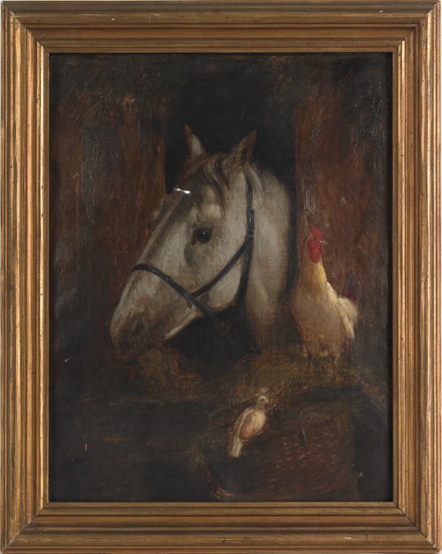 804: Oil on canvas portrait of a horse, 19th c., signe