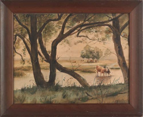 806: Two watercolor landscapes, 20th c., one with cows
