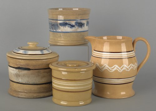 808: Four pieces of yelloware mochaware, 19th c., tall