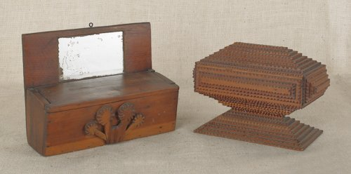 816: Tramp art box, 20th c., together with a chipped c