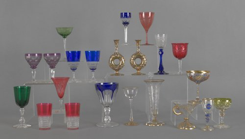 1056: Collection of art glass stemware, to include enam