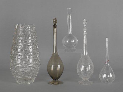 1058: Four glass decanters, to include a Libbey example