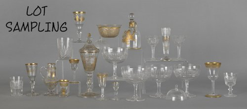 1059: Large group of glass stemware.