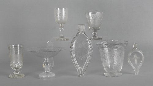 1060: Six pieces of etched colorless glass.