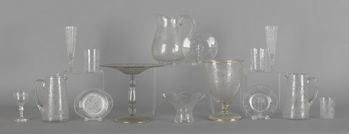 1063: Collection of etched colorless glass.
