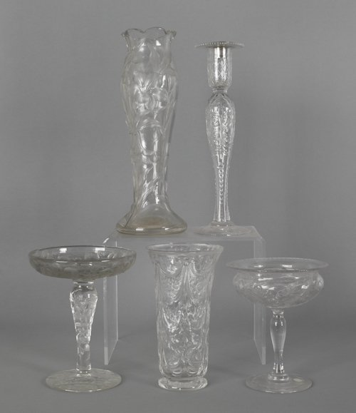 1066: Five pieces of colorless etched glass.