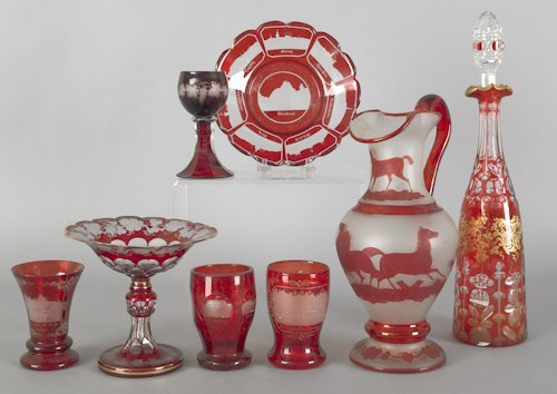 1074: Collection of ruby flash and cut to clear glass,