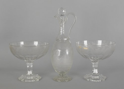 1077: Pair of etched colorless glass compotes, together