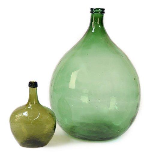 """851A: Two green glass demi-john bottles, tallest - 24""""."""