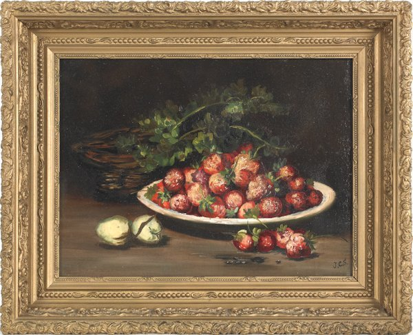 3: Oil on canvas still life, late 19th c., initialed