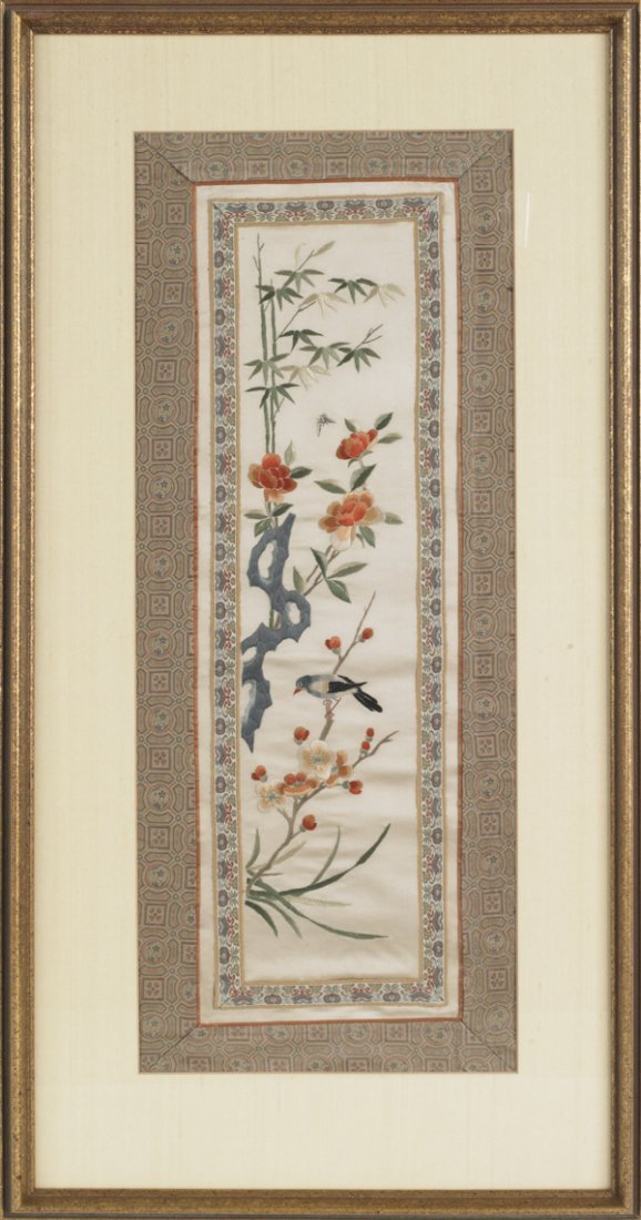 4: Four Oriental painted silk panels, 20th c., 22 1/