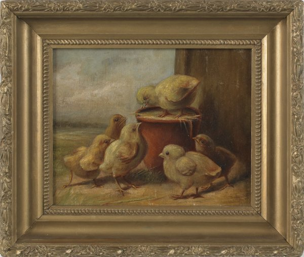 5: Oil on canvas portrait of six chicks, 19th c., 8