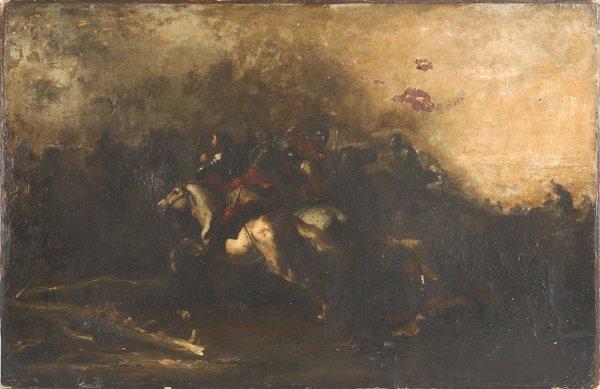 10: Continental oil on canvas battle scene, ca. 1800,