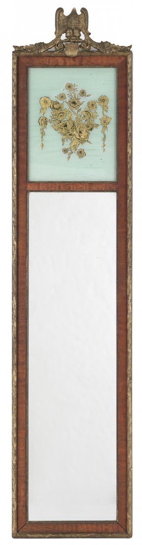 11: Mahogany and giltwood looking glass, 20th c., wit
