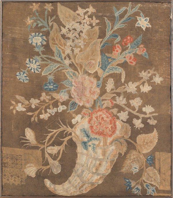 13: English needlework panel, late 18th c., of a corn