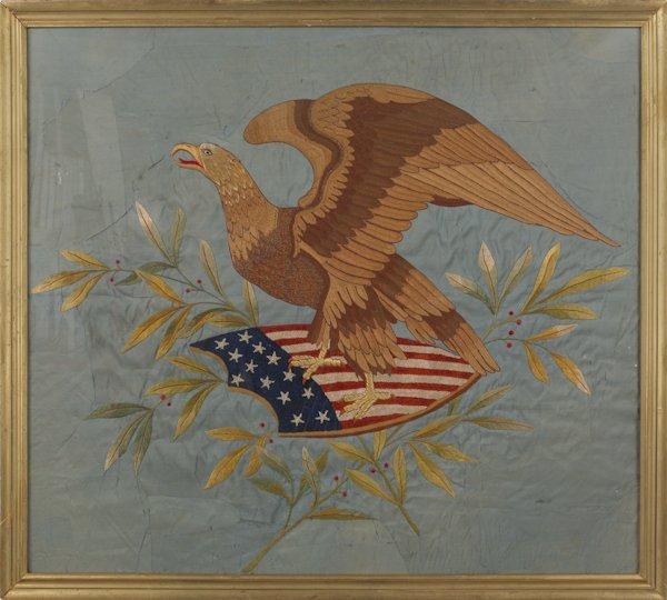 14: Large needlework on silk panel, 19th c., of an ea