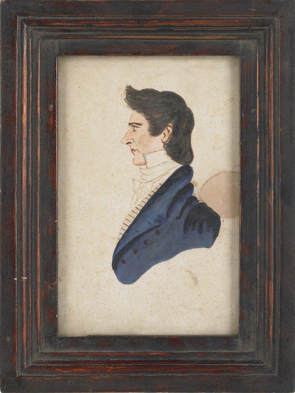 17: Watercolor profile portrait of a gentleman, early