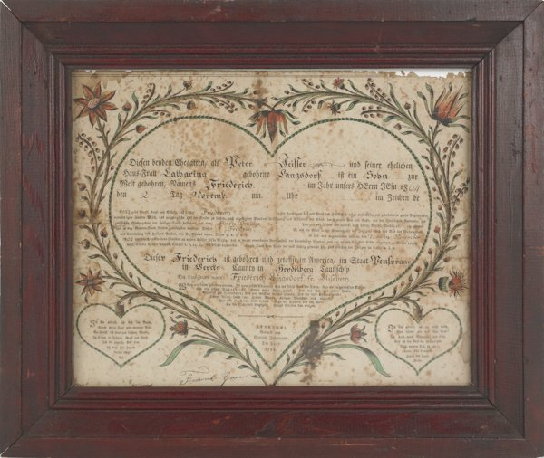 21: Pennsylvania printed and hand colored fraktur by