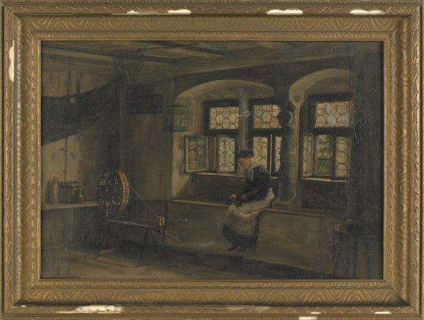 24: Oil on canvas interior scene, late 19th c., of a