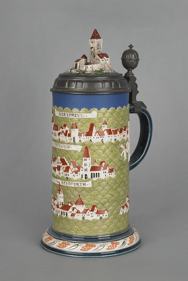 120: Mettlach stein #2829 with castle lid, 11 1/2'' h