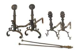 535: Pair of Federal brass andirons, ca. 1830, 15'' h.,