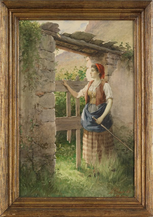 620: Italian watercolor of a peasant woman, signed Bi