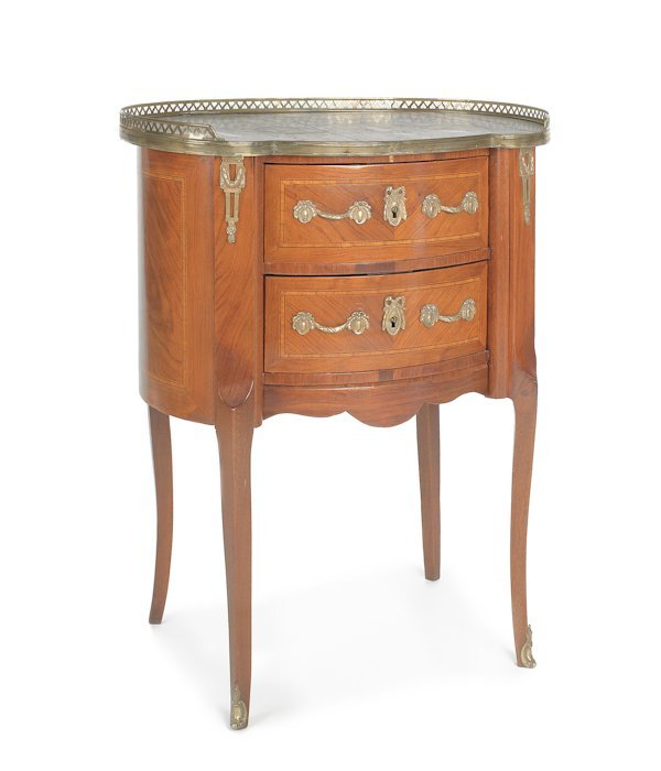 630: French marble top end table, 31'' h., 24'' w.